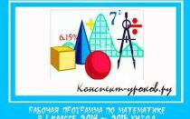 Рабочая программа по математике для 1 класса на 2020-2021 учебный год