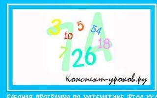 Рабочая программа по математике для 1 класса на 2018-2019 учебный год