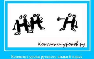 План конспект урока русского языка в 6 классе