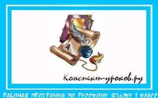 Рабочая программа по русскому языку для 1 класса на 2018 -2019 учебный год