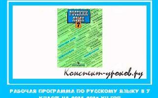 Рабочая программа по русскому языку в 7 классе на 2018-2019 учебный год