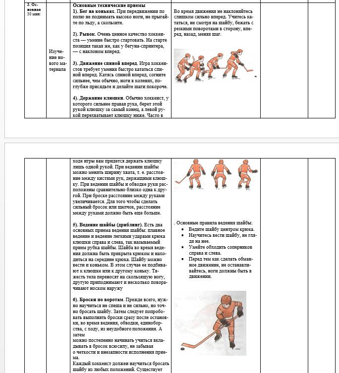 план конспект урока по хоккею 9 класс