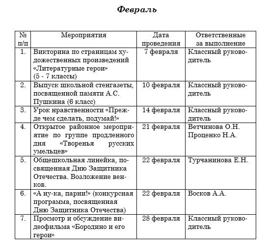 план воспитательой работы в 7 классе февраль